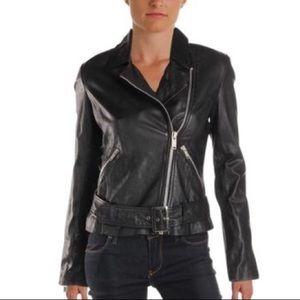 Aqua leather Moto jacket